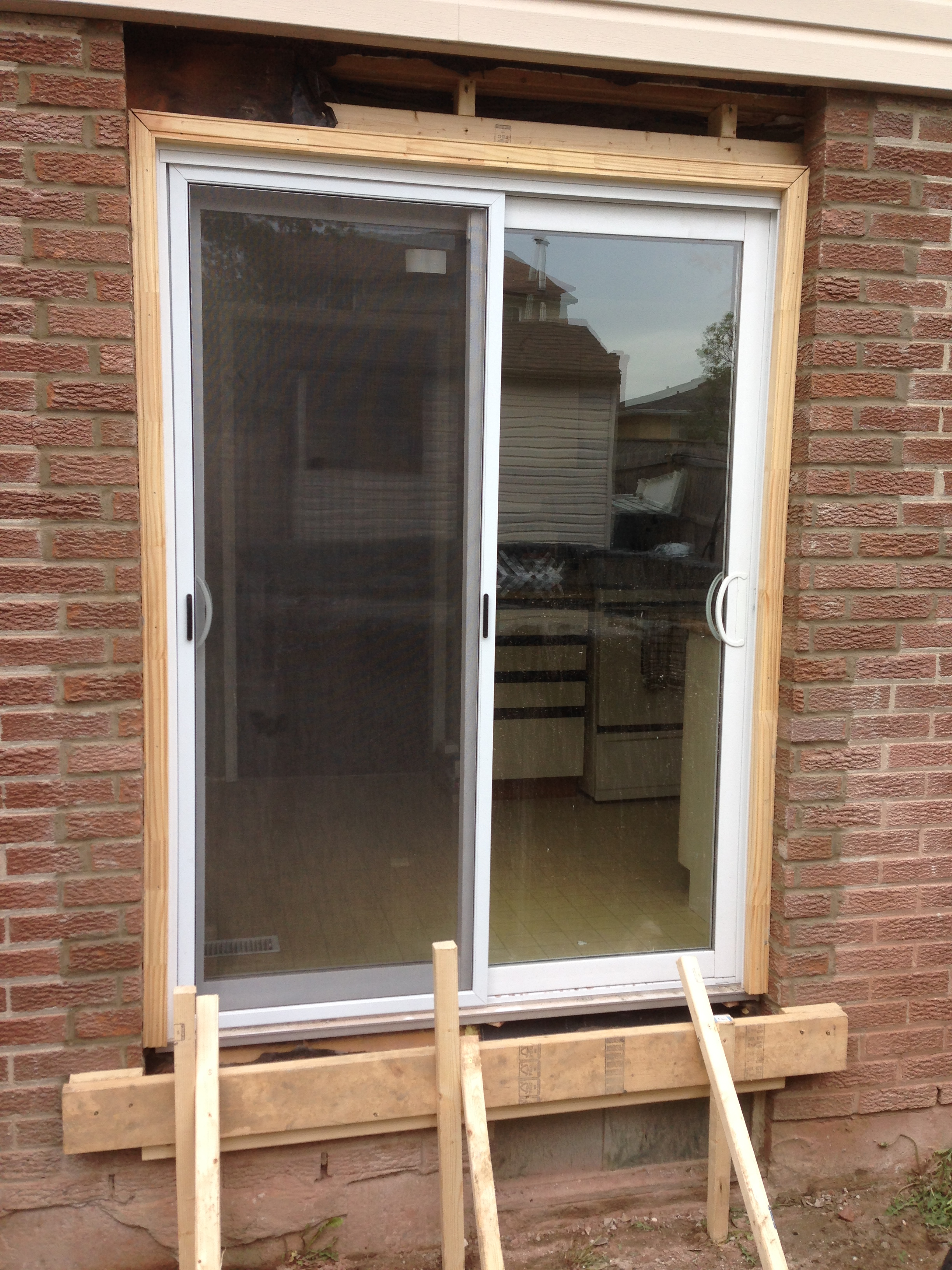 Patio Door Brickwork Completed Concrete Sill Formed Northern