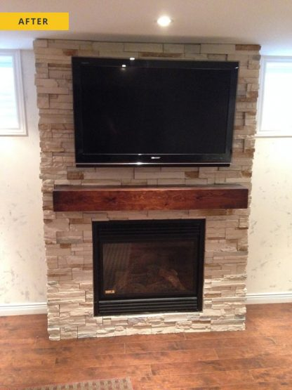 Stone facing, fireplace - after