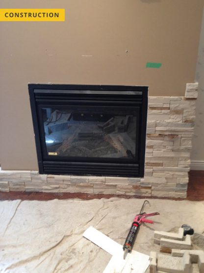 Stone facing, fireplace - construction