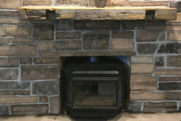 fireplace, stone veneer